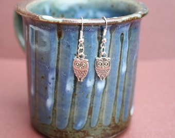 Silver plated dangle Owl earrings with fish hooks