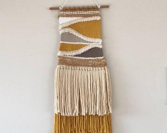 Woven wall hanging, handmade weaving, textile art, fibre art, home decor, wool, wall art,
