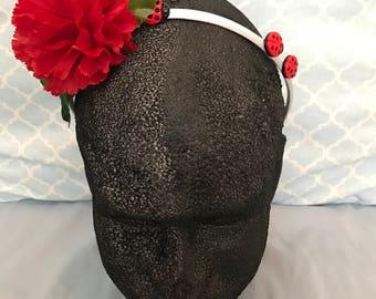 lady bug headband, red flower headband, adult headband, garden hair, ready to ship.