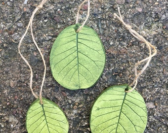 Handmade leaf ornaments, leaf imprints, leaf pendants, smokebush leaves, botanical ornaments, leaf ornaments