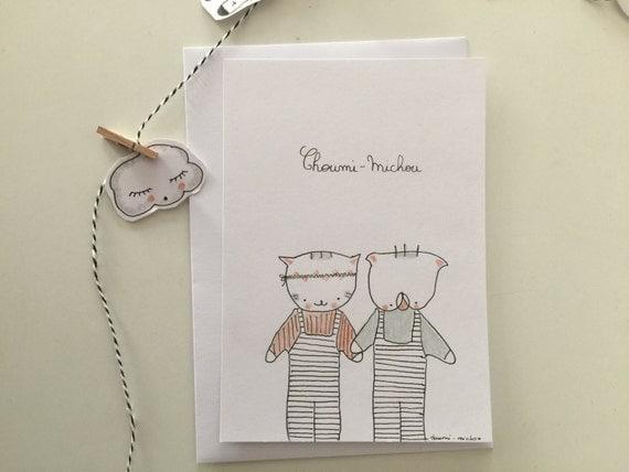 "Postcard ""Choumi et Michou, flower power"""