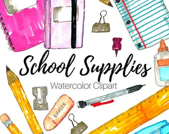School Clip Art - School Supplies Clip Art - Hand Drawn Clip Art - Back To School - Commercial Use