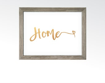 Home Sign - Printable Digital Art - Instant Download - Welcome Home Decor Wall Art - Rose Gold Copper Calligraphy Script - Housewarming Gift