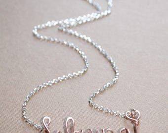 Sterling Silver and 22k Rose Gold Custom Name with Heart Necklace Silver and Rose gold Personalized Name Necklace Wire Jewelry Mothers Day