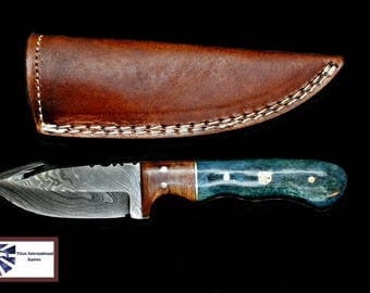 Damascus Skinning gut hook, Hunting Knife by Titan TD-407