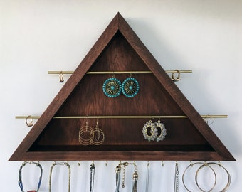 All in One Earring-Ring-Necklace Organizer / Jewelry Organizer / Earring Holder / Bracelet Display / Metal & wood Jewelry Organizer Display