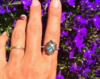 Stainless Steel Labradorite Ring size 8.5