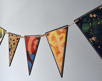 Decorated wooden bunting