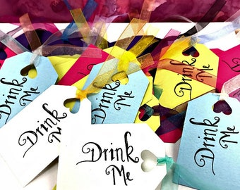 Alice in Wonderland Drink Me Tags Made-To-Order|Drink Me Tags|Drink Me|Party Tags|Alice in Wonderland Decorations|Drink Tags|Whimsical Tags