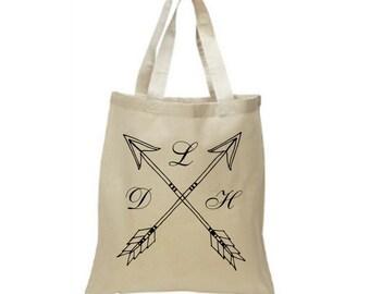 Monogram Tote Bag, Reusable Grocery Bag, Cute Tote Bag, Unique Tote Bag, Personalized Tote Bag, Boho Monogram, Arrow Tote Bag