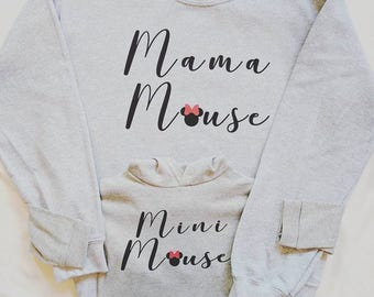 MAMA MOUSE, Woman's size. Matching mum and baby jumpers, Disney clothes, Personalised clothes