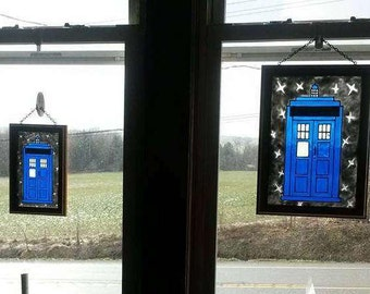 Tardis | Doctor Who | Window Art | faux stained glass | painted glass | sun catcher
