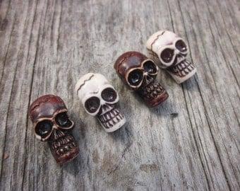 Skull beads // Large Brown skull beads  // Large white skull beads