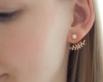 Ear jackets Rosegold leaves cubic zirconia beads