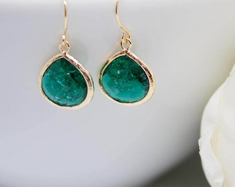 Yellow Gold Earrings emerald green Emerald