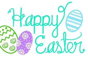 Happy Easter SVG Files - Cut File For Silhouette, Cricut - Clipart - Vinyl - HTV - Decor - Scrapbooking
