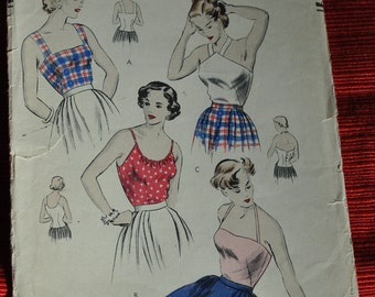 Vintage Vogue 6453 ca. 1948 Sleeveless tops Rare Collectible 1940's Size 12 Bust 30 Sewing pattern