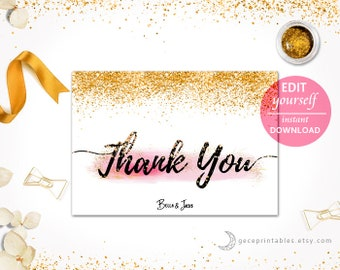 Thank You Printable Bridal Shower, Baby Shower, wedding printable, Editable Thank You Card, instant download, printable game -007
