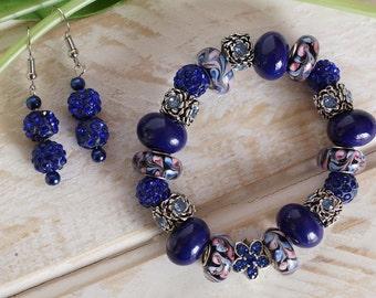 BLUE LA FLEUR - Glass Lampwork Bracelet and Matching Earrings