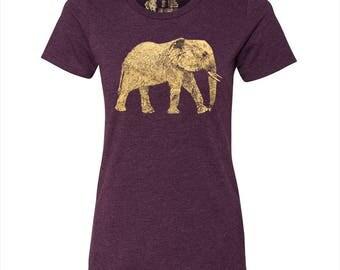 Women's Elephant T Shirt, 10% Donated to Animal Causes, Wildlife T-Shirt, Elephant Tee, Animal Gift, Spirit Animal Tshirt