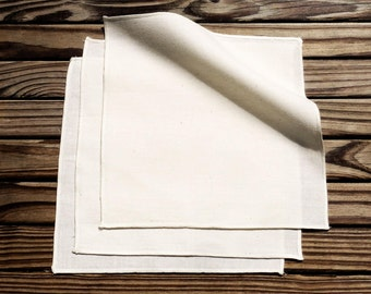 The Organic Handkerchiefs Company Unbleached Organic Cotton Handkerchiefs, Large Natural Handkerchiefs, Unbleached Hankies Set of 3 - hanky