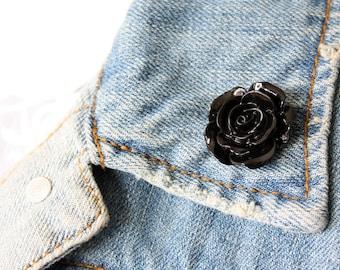 Black Rose Lapel Pin (large)