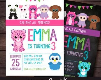 Beanie Boo Birthday Invitation, Beanie Boo Birthday Party, Printable Invitation, DIGITAL Invite