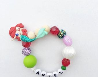 Personalized Ariel Bracelet, Little Mermaid Bracelet, Disney Bracelet, Disney Jewelry
