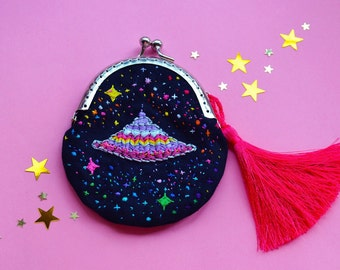 handmade little coin purse Space Flying Ship