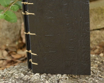 Hand-Made Coptic Book: Black Faux Leather and Watercolor Paper