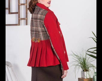 Floret Jacket SMALL-MEDIUM red, vintage tweed, pleats, yoyo's, asymmetrical collar, box cut, handmade, up-cycled, rework, contrast, upcycled