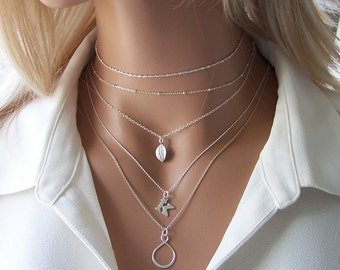 Custom Sterling Silver Chain Choker Necklace - Choose Your Own Chain, Layering Necklace, Layering Choker, Minimalist Jewelry