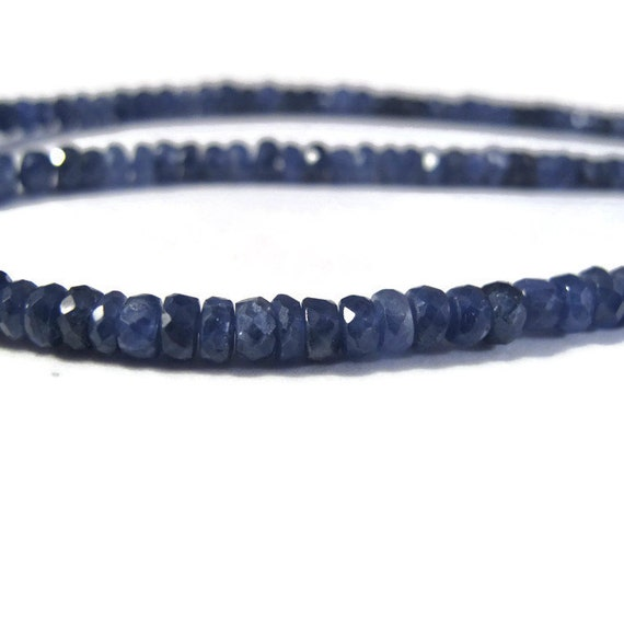 Blue Sapphire Rondelles, Untreated Sapphire Beads, 4mm - 5mm Gemstones, Over 55 Faceted Beads, 7 Inch Strand (Luxe-Sa4a)
