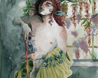 The Wine is the Life - 5x7 giclee bamboo print - pagan fantasy watercolor - Dionysus, Bacchus, faun, satyr