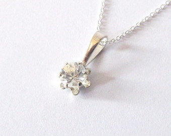 White Zircon Natural Gemstone Pendant Necklace in Sterling Silver, Solitaire  Buttercup Setting 4mm Clear Gemstone