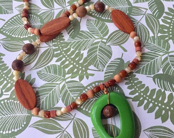 Serene Green Necklace Handcrafted Pendant Cocoa Brown Wood