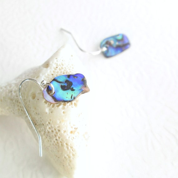 Abalone Shell Earrings, Natural Paua Seashells, Blue & Green Beach Wedding Jewelry
