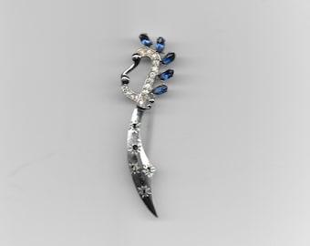 Vintage Brooch - Scimitar Sword Pin - Rhinestones - Blue Green Crystal  - Silvertone
