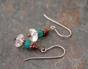 Garnet, Green Onyx and Clear Quartz Earrings
