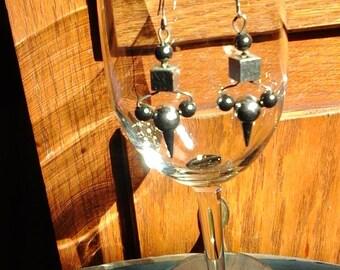 hematite ballspear earrings