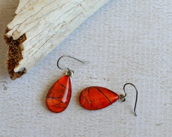 Orange Crackle Glass Earrings- Teardrop Earrings- Titanium Dangle Earrings- Made with Upcyled Paper- Hypoallergenic- Southwest- OOAK Dangles