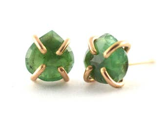 Emerald Earrings, Raw Gemstone Studs, May Birthstone Earrings