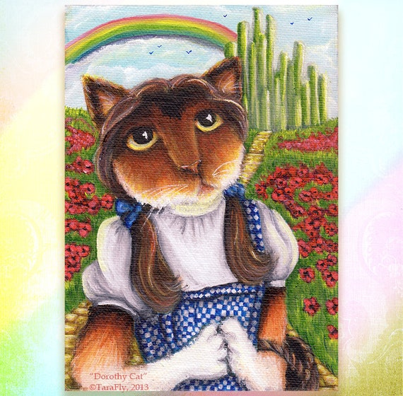 Wizard of Oz, Dorothy Cat, Emerald City, Rainbow, Calico Cat 8x10 Fine Art Print