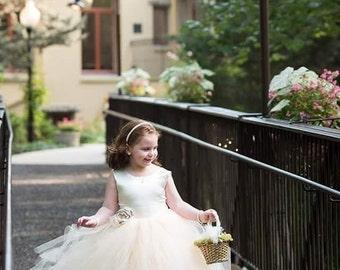NEW! The Juliet Dress in Ivory/Light Gold with Flower Sash - Flower Girl Dress