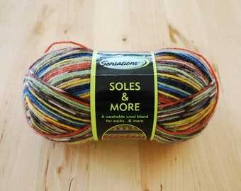 Sock Yarn - Sensations Soles & More Wool Blend Yarn - Taupe/Green/Blue