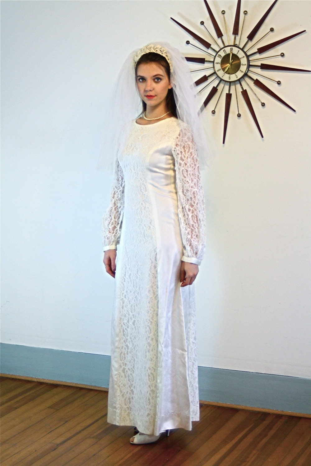 70s Wedding Dress Simple Vintage Modest Long Lace Sleeves 80s Satin
