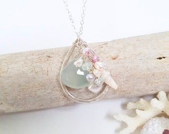 Ocean necklace made in Hawaii - Beachy necklace with shells, Shell necklace by Tidepools Jewelry, Beach jewelry, destination wedding