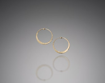 Tiny 14k Gold Hoop Earrings // Delicate Flat Gold Hoops 3/4 inch