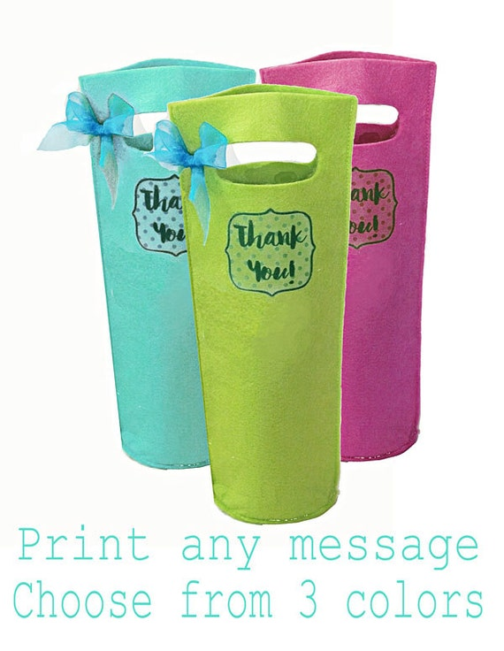 Custom Wine Bags, 3 Personalized with your monogram or message, Hostess Gift, Bridesmaid Gifts, Wedding Favors, Housewarming Gift