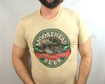 Vintage 1980s 80s Moosehead Beer Tee Shirt Tshirt - Screen Stars Best